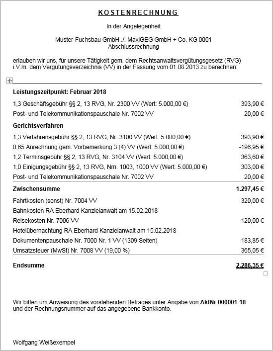 Dokument 1002038 - Anwalt classic Rechnungsentwur... - LEXinform/Info-DB